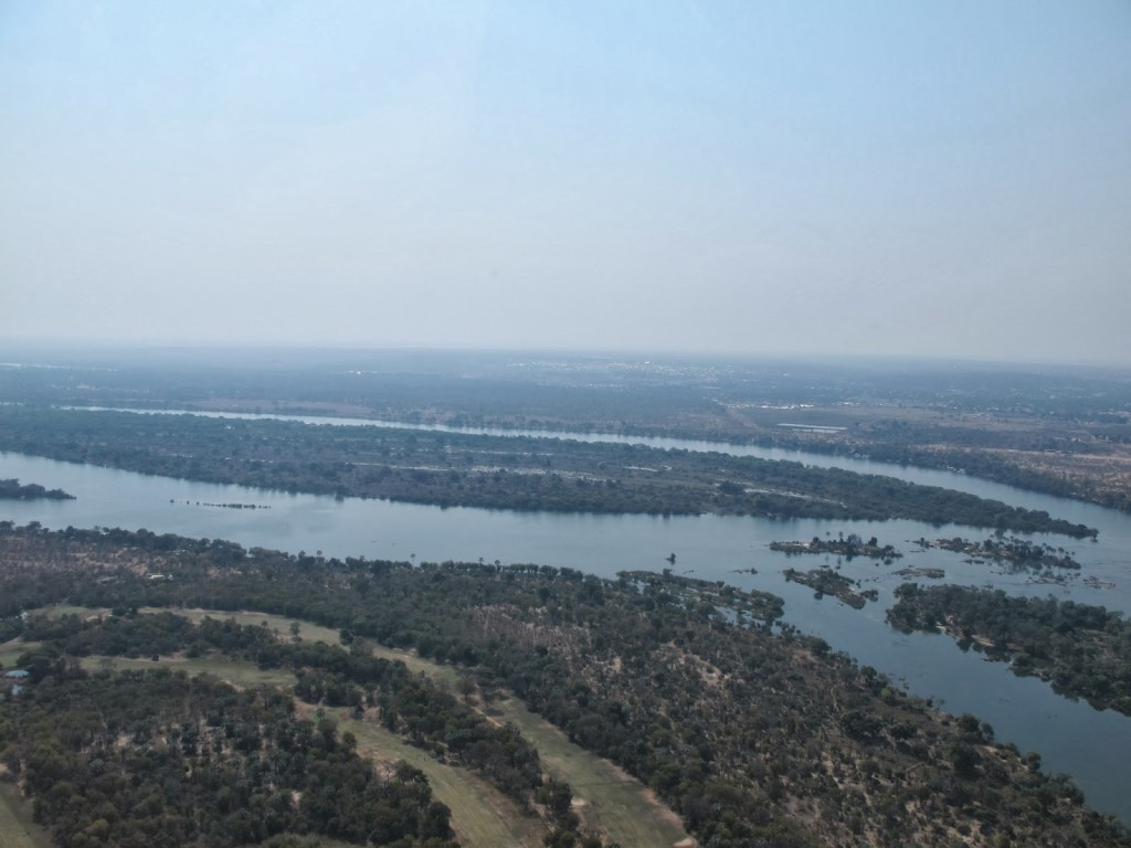 Zambezi river while flying towards the Falls