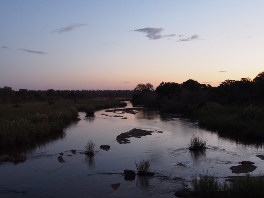 Sunset on the river of Kruger NP