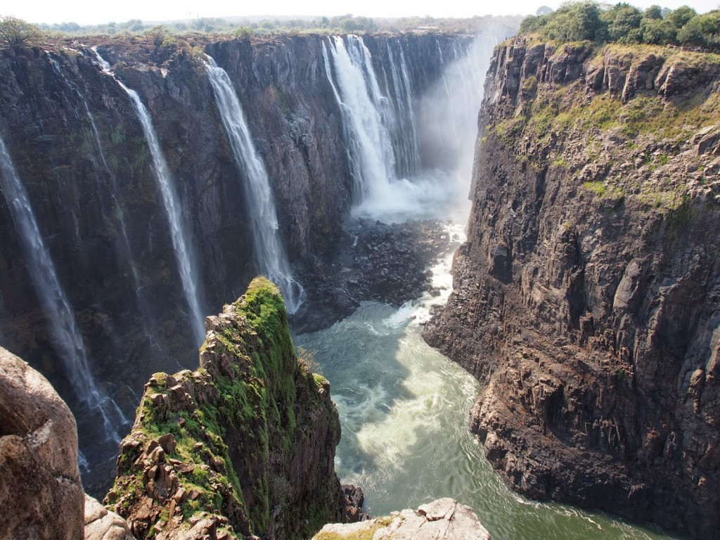 The end of the falls at Zimbabwe side