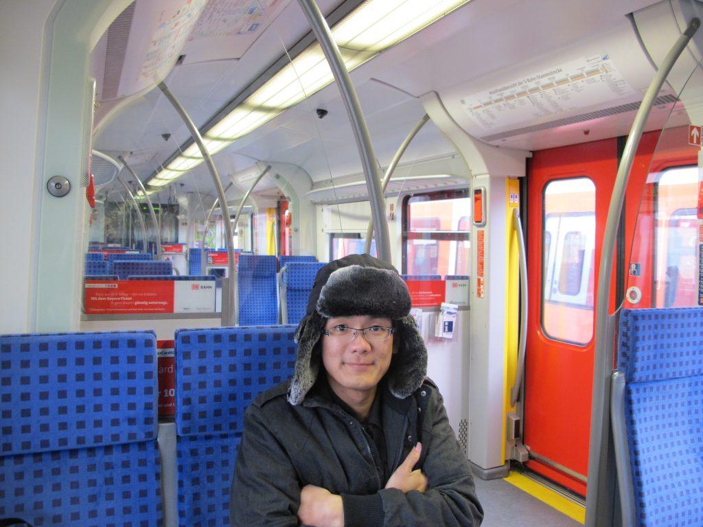 Me in the almost empty train.