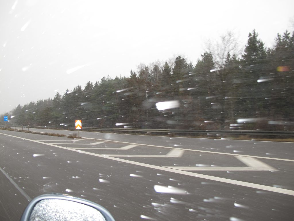 Snowing as we drove on the Autobahn.