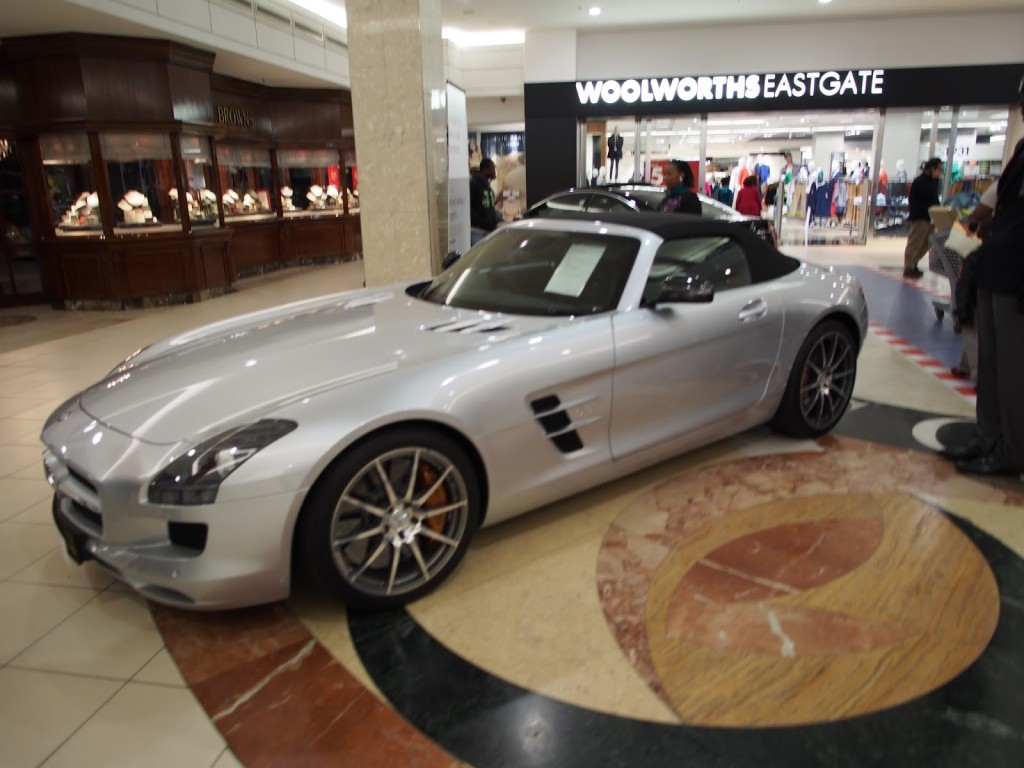 Cars on show for purchase in the middle of the mall