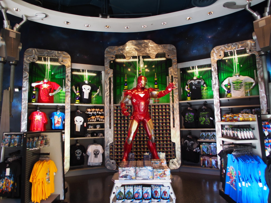 Merchandise store with Ironman center piece.
