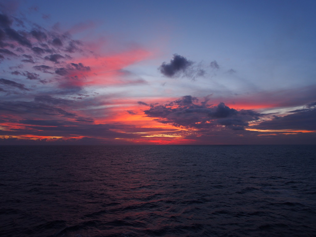 Hues of sunset from the cruise balcony.