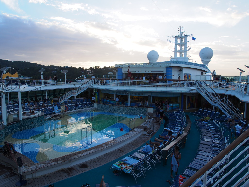 The swimming pool at the top deck of the cruise.