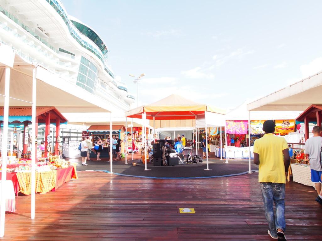 Stalls near the cruise ship.