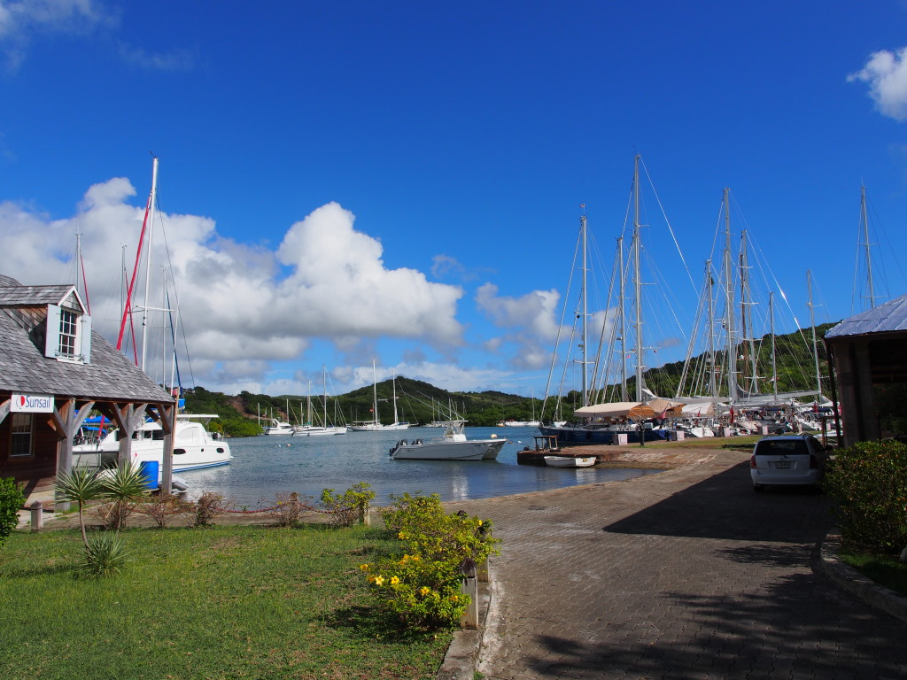 Nelson Dockyard's parking lot for yachts.
