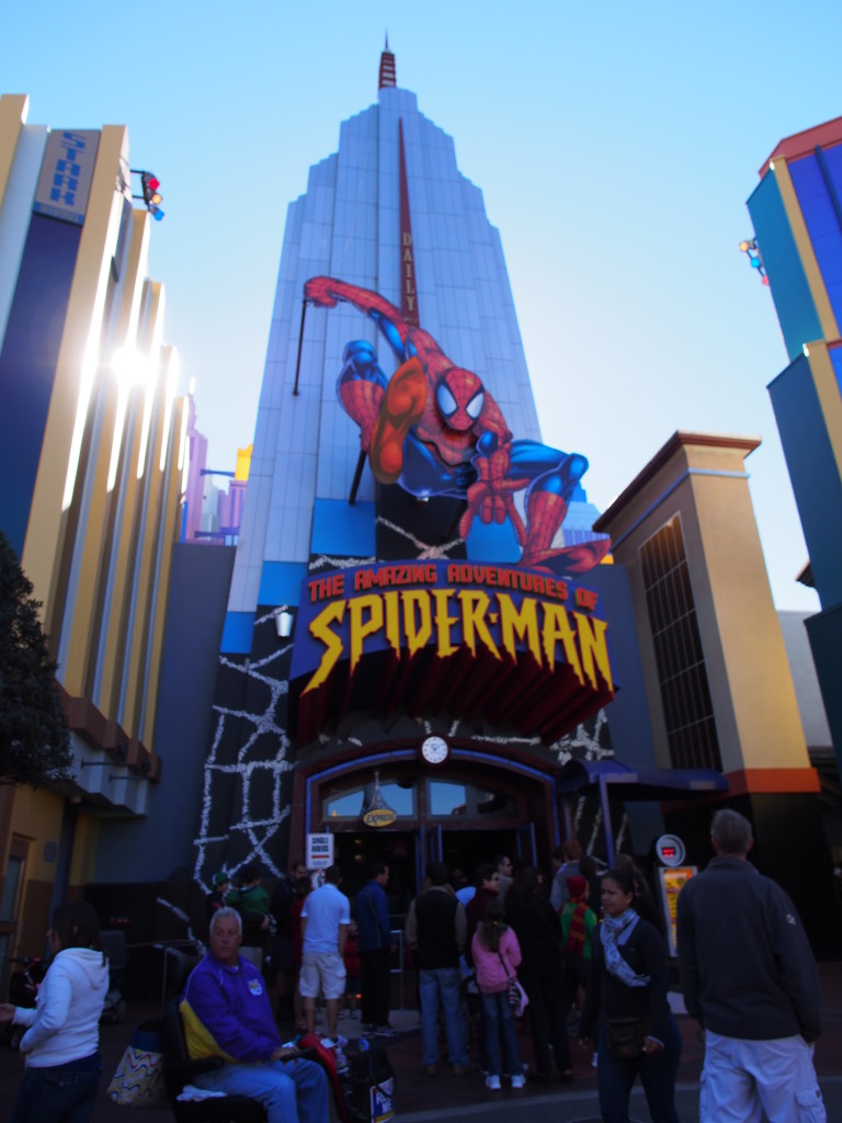 Spiderman ride in the building.