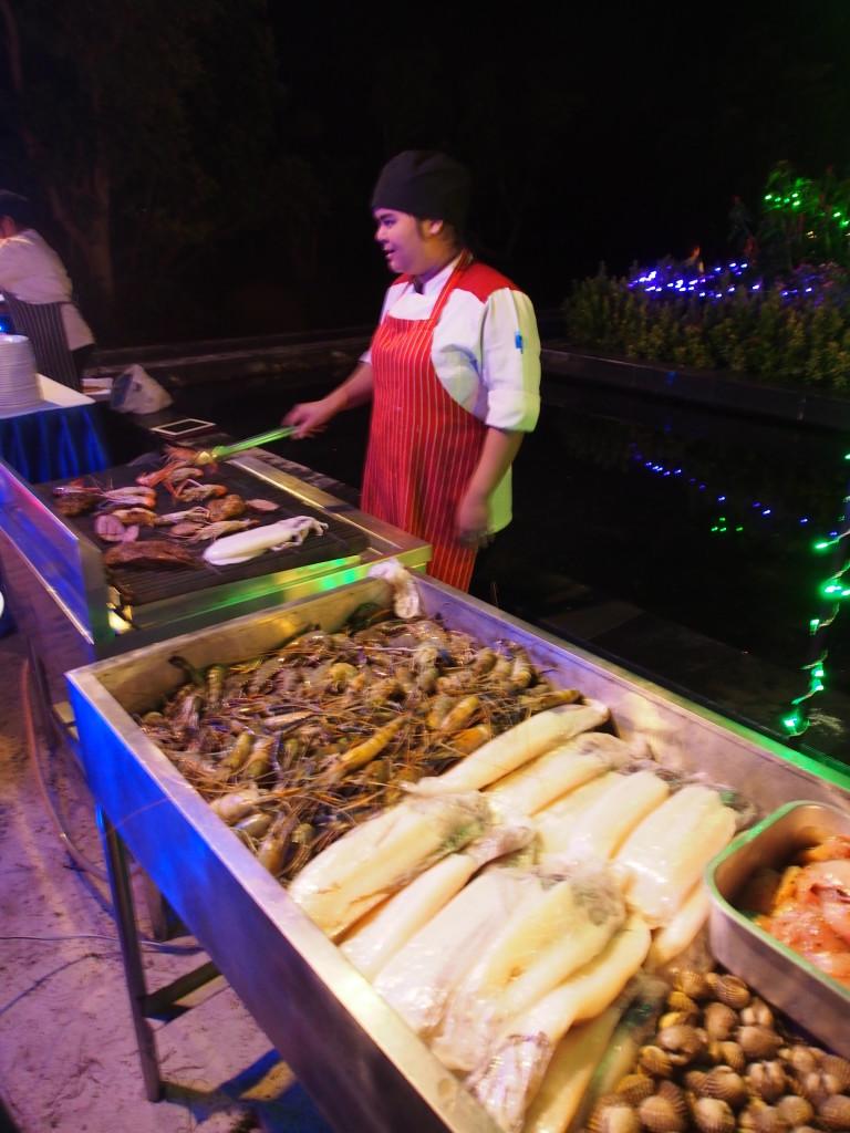 BBQ seafood counter.
