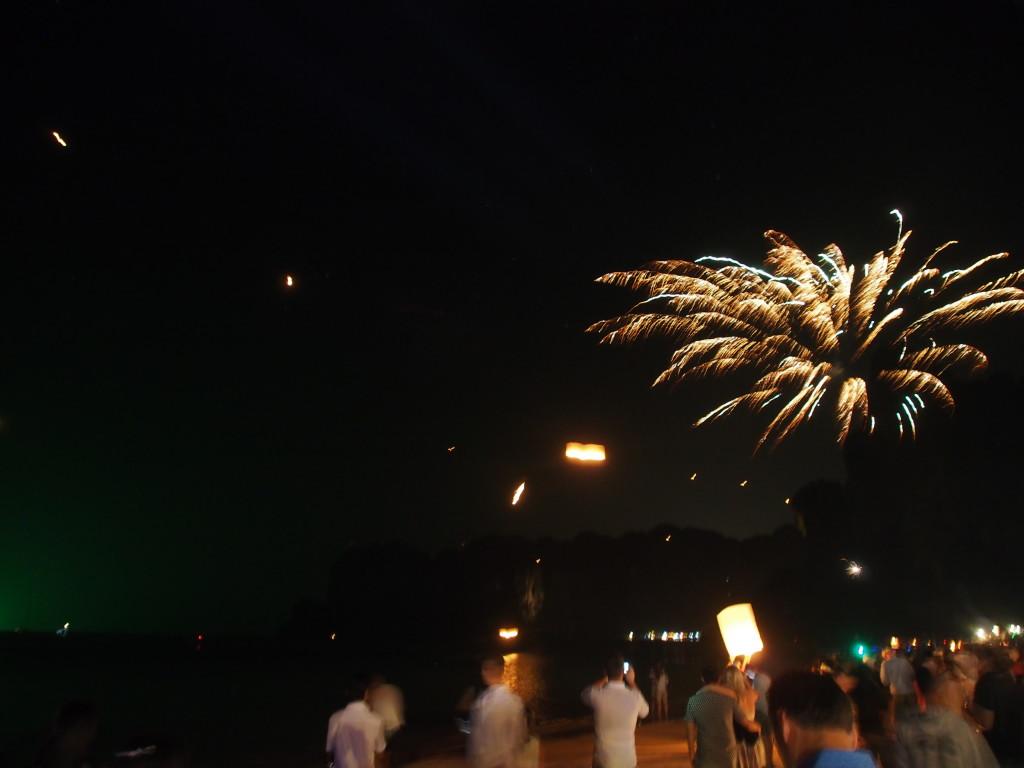 Fireworks off the beach.