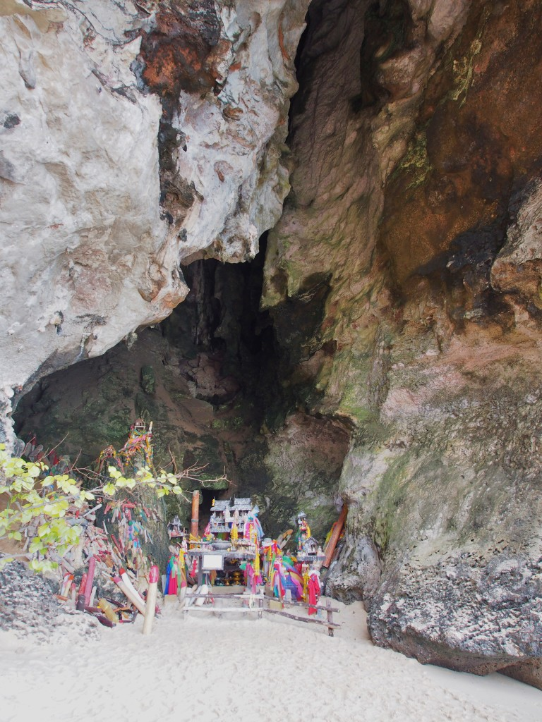 Phra Nang Cave with a table of offering for the Princess.