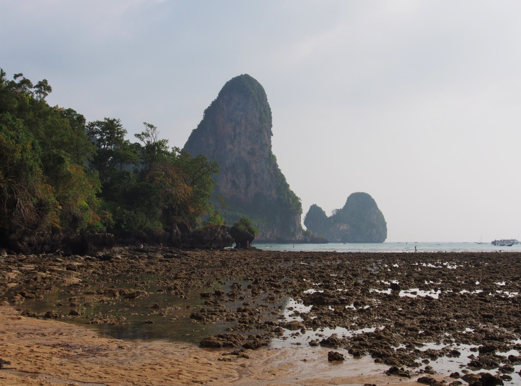 View of Railey West from Tonsai. Low tide exposed the rocks beneath.