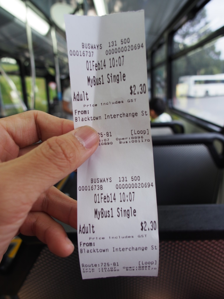Bus ticket.
