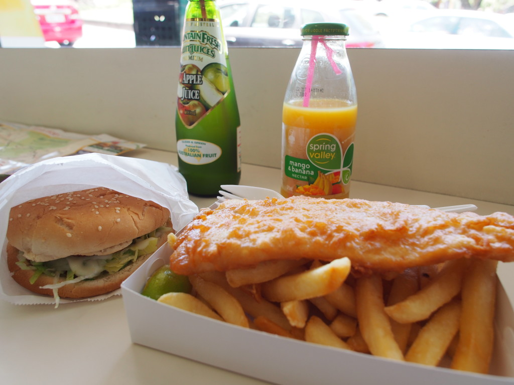 Fish and chips and chicken burger.
