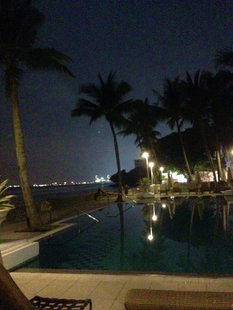 Night view of swimming pool.