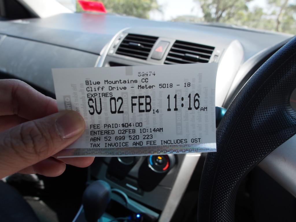 Printed parking ticket.