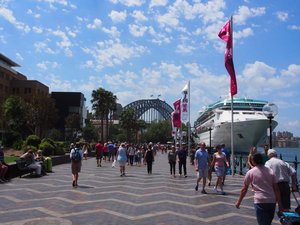 Pier side view of harbour bridge.