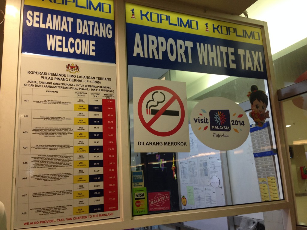 Taxi counter outside Arrivals.