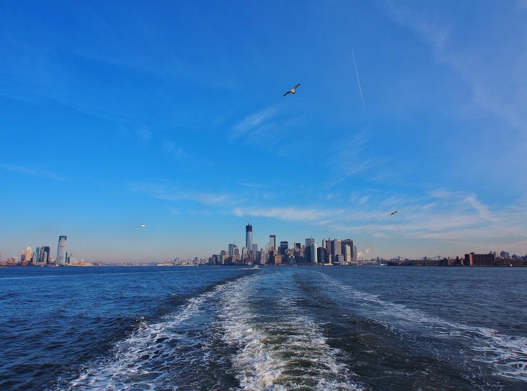 Leaving Manhattan on a ferry.