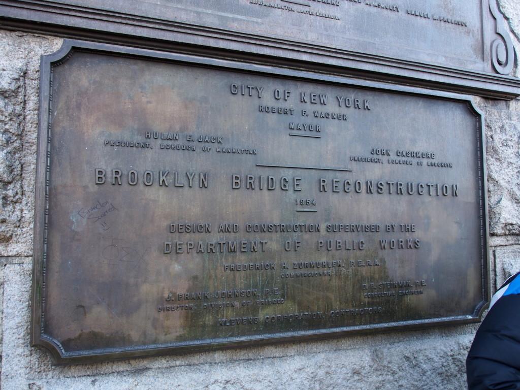 Signage of Brooklyn Bridge.