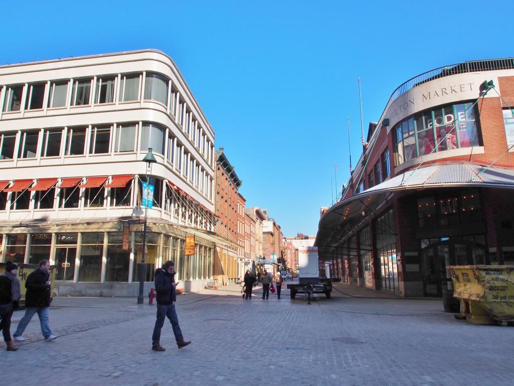 Quiet street as many shops were still shut.
