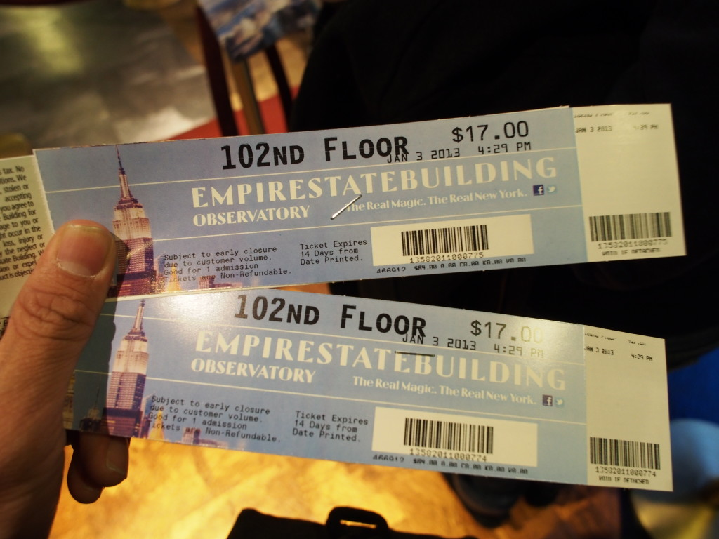 Tickets to the observatory.