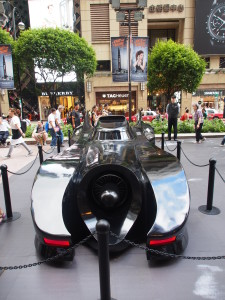 Batmobil on display outside Times Square