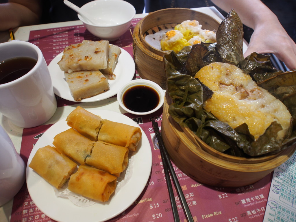 Yam cake, Spring roll, Siew Mai and Glutinous rice.
