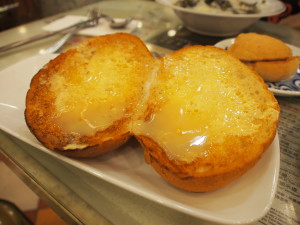 Popular sweetened milk with butter toast.