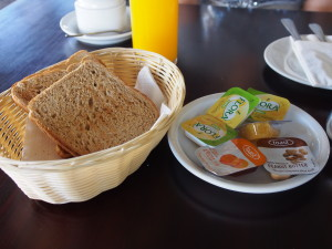 Bread with spreads.