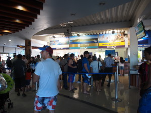 Check in counters for the cruise to islands.