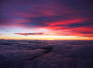 Flying above the clouds.