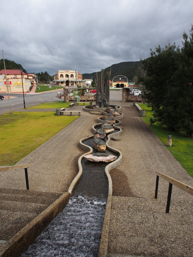 Fountain dedicated to the mining history of Queenstown.