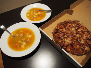 Our dinner of pizza and soup.