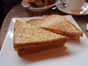 Egg, ham and tomato toast.