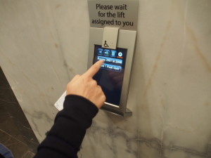 Touch screen for lift operation.