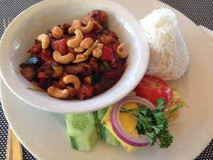 Rice with fried cashews.