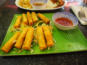 Fried mini spring rolls.