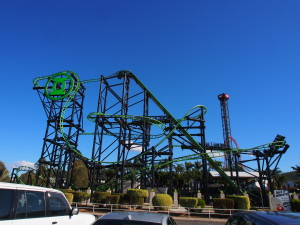 Green Lantern ride can be seen from the outside.