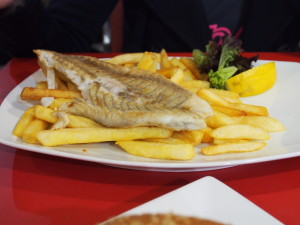 Grilled Barramundi with chips.