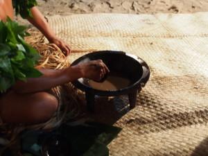 Kava in a wooden pot.