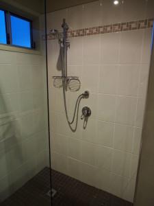 Standing shower.