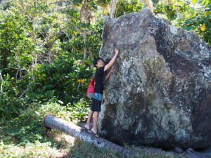 The rock where he wrote stuff. And so I pretended to do the same.