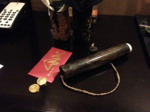 Ang Bao with chocolate golden coins and the breakfast in room menu.