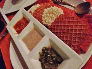 Appetizers of chips of sauces.