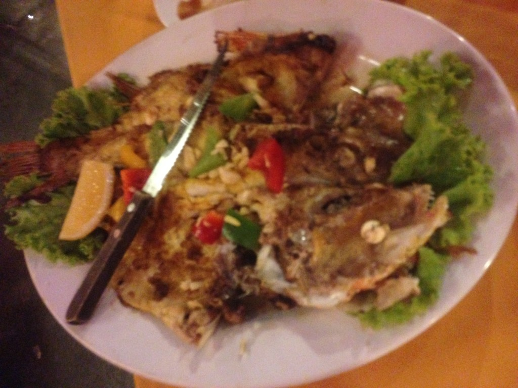 Fried red snapper.