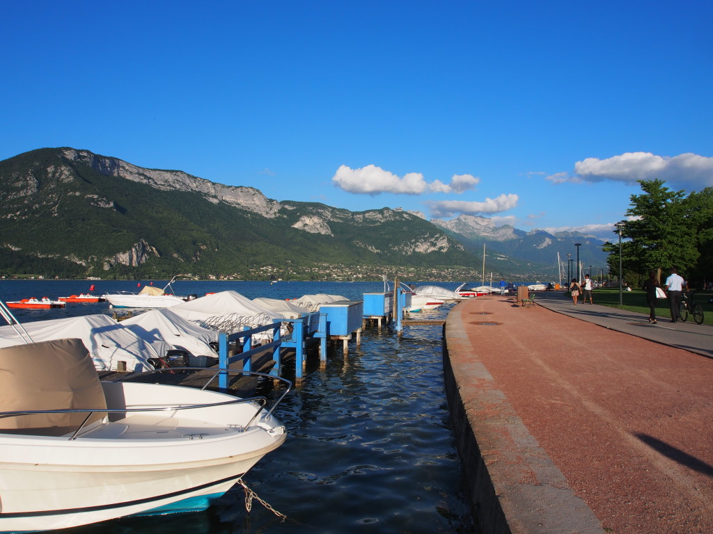View of lake with shore lined with boats.