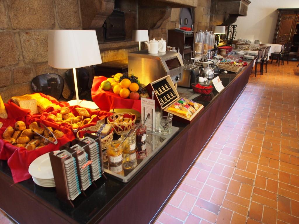 Breakfast buffet selection.