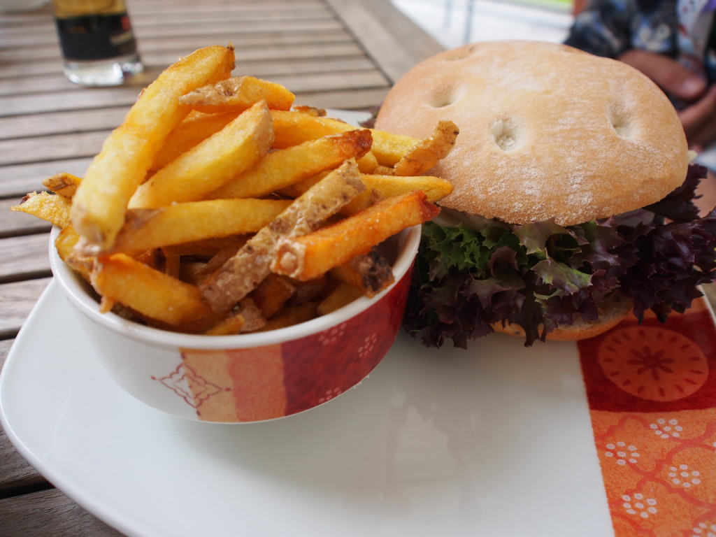 Burger and chips.
