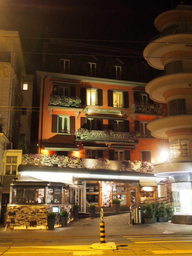 Our La Rouvenaz hotel in the night.